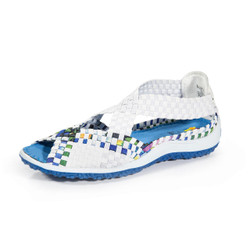 Saletto White/Turquoise Multi Woven Sandal