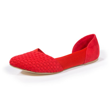 Norah Red Woven D'Orsay Flats