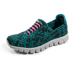 DANIELLE-A Black/Teal Multi Woven Sneakers