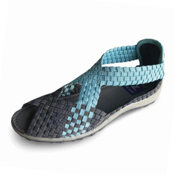 Saletto Gray/Turquoise Woven Sandals