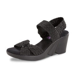 PIERCE Black Metallic Woven Sandal