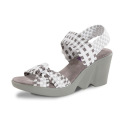 PIERCE White/Pewter/Silver Woven Sandal