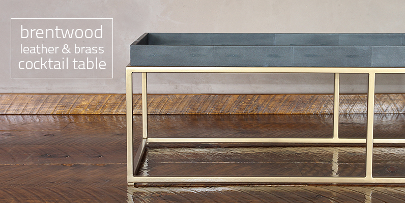 brentwood leather & brass cocktail table