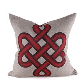 Tibetan Knot Hand Painted Pillow