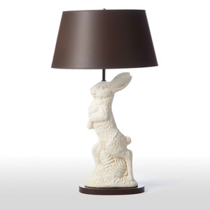 As Shown: Cotswolds Table Lamp Size: 17 diameter x 29.5 H inches Material: Ceramic Composite Shade: Painted Parchment Shade Color: Chocolate  Description: This delightful lamp in ceramic composite brings whimsical fun to your interior. The chocolate brown painted parchment shade complements the white rabbit. Will you take chase?