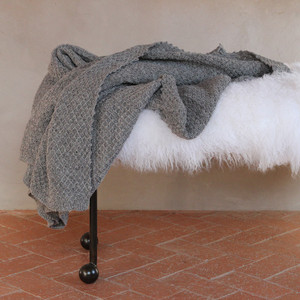 As shown; Cuddle Blanket Size 60 x 80 inches Material: Stansborough Grey Wool