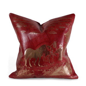 As Shown: Orientalist Pillow Size: 16 x 16 inches Material: Leather Color: Chinese Red Description: You'll love this glorious piece in rich leather embossed with metallic foil in an idyllic rural scene. Artisans hand-emboss the front then back with matching linen or leather. Fitted with a feather and down inner, your pillow will be individually crafted for you. The perfect way to infuse the majesty of the Middle Kingdom into your space.