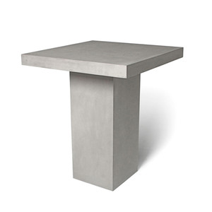 As Shown: Grande Jardin Bar Table Size: 35.5 x 35.5 x 41.5 H inches Material: Concrete  Description: The table rises to skyscraper bar height as a slab of concrete floats seamlessly above a tall recessed base to create a lightness not usually associated with the material. Made by hand, concrete is blended with sand and fiberglass to create a lightweight and durable material. Finished with a waterproof sealer, it is suitable for interior or exterior use.