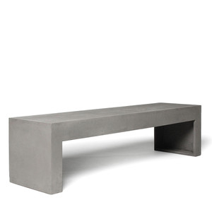 As Shown: Hit the Pavement Concrete Bench Size: 59 x 15.75 x 15.75 H inches Material: Concrete  Description: Stroll by this low sidewalk-length bench with an optional planter and you'll want to take it home. Its cool, clean lines work especially well in gallery spaces both public and private. Made by hand, concrete is blended with sand and fiberglass to create a lightweight and durable material. Finished with a waterproof sealer, it is suitable for interior or exterior use. Optional planter is fitted with a removable zinc tray liner.