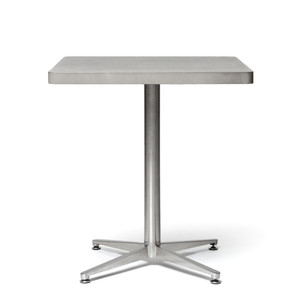 As Shown: Rue des Barres Bistro Table Size: 27.5 x 27.5 x 29.5 H inches Material: Concrete, Stainless Steel  Description: Entertain style, modernity, and grace in equal measure with this streamlined charmer that's a sleekly minimal piece that goes anywhere. Made by hand, concrete is blended with sand and fiberglass to create a lightweight and durable material. Finished with a waterproof sealer, it is suitable for interior or exterior use.