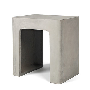As Shown: Rounding Up Concrete Stool Size: 17 x 12.5 x 17.75 H inches Material: Concrete  Description: With its easy-to-pick-up design and rectangular dimensions, this stool table will find a place in any room of your home. Made by hand, concrete is blended with sand and fiberglass to create a lightweight and durable material. Finished with a waterproof sealer, it is suitable for interior or exterior use. Perfectly simple utilitarian chic.