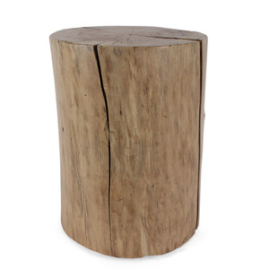 As Shown: Pale Rider Cottonwood Stump Table Size: 18 diameter x 20 H inches Finish: Natural Topcoat: Interior Description: The natural clarity of elegant proportions and beautiful graining and colorations, coupled with cracks that are inherent to the wood, inform your primitive aesthetic with effortless style. Reclaimed rough-cut solid cottonwood logs are harvested from the bosque (woodlands) along the Rio Grande River in New Mexico. They are hand-shaped then dried in a solar kiln before being topped with a protective clear coat. A portion from the sale of each table goe to Tree New Mexico, a non-profit dedicated to ensuring sustainable forests in urban and rural communities and natural areas through restoration, public education and advocacy.