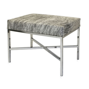 As Shown: Gramecry Cowhide Bench Dimensions: 20 x 16 x 19 H inches Materials: Hair-on cowhide, chrome plated steel Color: Cream and grey speckle Description: Impart stately elegance with this sleek piece. In endless combinations, it eases into any space. Made to order, artisans construct a hair-on cowhide seat and attach to a sleek polished base.