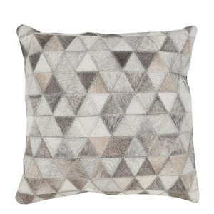 As Shown: Cowhide Prism Pillow Size: 18 x 18 inches Material: Hair-On Cowhide  Description: Geometric elegance in textured shades of beige, light grey, ivory and taupe. By hand artisans seam pieces of hair-on cowhide then back in fabric with a feather and down inner. Each pillow is individual to you, please allow for variation in color and markings. A lovely combination with our Large Chevron Cowhide Pillow, we love their understated chic and soft coziness in sleek modern interiors or rough organic spaces.