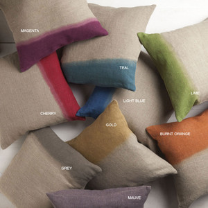 As Shown: Linen Dip Pillow - DD-010 Size: 18 x 18 inches Material: Linen in Burnt Orange, Cherry, Gold, Grey, Light Blue, Lime, Magenta, Mauve and Teal  Description: Saturated ombré hues punctuate a natural body, highlighting its texture. By hand artisans dip dye natural linen on one end. Fitted with a feather and down inner, they are available in multiple sizes and colors.