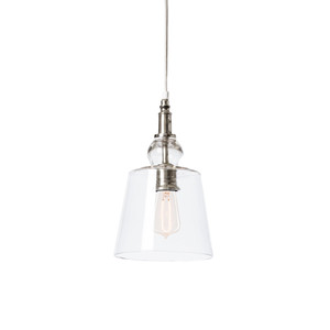 As Shown: Bacall Pendant Lamp Size: 8 diameter x 10 H inches Material: Glass with Polished Nickel Hardware  Description: This refined pendant lamp pairs mouth-blown glass in a classic bell shape with antique brass or polished nickel hardware. Ms. Bacall would approve.