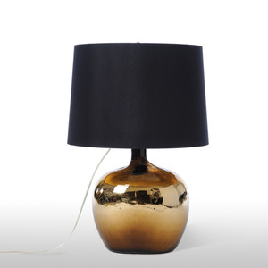 As Shown: Hudson Table Lamp Size: 19 diameter x 31.5 H inches Material: Glass Shade: Silk  Description: The demijohn jugs shape of this handmade in the USA pearlescent glass lamp is balanced by the gold-lined black silk deep empire shade. Casually spirited, this lamp's eclectic point of view and vintage feel is designed to blend into your décor.