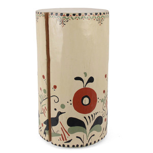 As Shown: Pajarito Hand Painted Side Table Size: 12 dia x 22 H inches Color: Ivory Topcoat: Sealed Topcoat