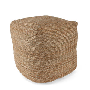 As Shown: Au Naturel Jute Pouf - POUF-101 Size: 18 x 18 x 18 H inches Material: Jute  Description: Add a touch of a textural fiber taken from nature to your home. Artisans weave jute fiber from the stems of tropical plants, then fill with densely packed shredded cotton to achieve a soft, firm seat. The perfect neutral piece for a bit of organic slouchiness from industrial loft to beach cottage.
