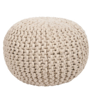 As Shown: Bar Harbor Wool Pouf Size: 18 diameter x 12 H inches Material: Wool  Description: Bring the cozy softness and wonderful texture of a fisherman's sweater into your space. Artisans weave and twist 100% sheep's wool then fill with densely packed shredded cotton to create a soft, firm seat. Comfy and graphic, it works as a snowy, organic element in a neutral or minimal setting and as a palette-cleanser in colorful or traditional interiors.