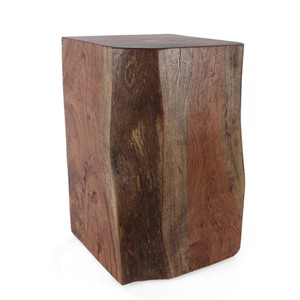 As Shown: Margosa Solid Wood Cube Table Size: 15 x 15 x 24 H inches Finish: Light Walnut Topcoat: Sealed Topcoat  Description: The organic lines and inherent cracks of Margosa wood are revealed in a side table that is a perfect blending of a geometric shape and natural contours. The result is an individual one-of-a-kind monument to nature tamed by craftsmanship. By hand artisans cut from a large stump of solid Margosa – a dense tropical wood – planing and sanding it into an organically shaped cube.  Your piece will be finished per your specifications.
