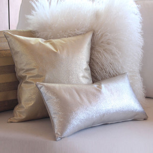 As Shown: Shimmer Pillow Size: 9 x 18 inches, 16 x 16 inches Material: Leather Color: Silver, Gold