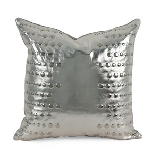 As Shown: Astronaut Pillow Size: 16 x 16 inches Material: Leather Color: Silver  Description: Edgy glamour reigns when metallic studs align over liquid metallic leather. By hand artisans transfer a thin layer of metallic foil onto leather using a technique similar to metal leafing, then attach metal studs in two sizes.  Backed in matching metallic linen or leather and fitted with a feather and down inner, your pillow will be individually created for you. Available in silver, gold, or bronze, its striking allure turns heads in any setting.