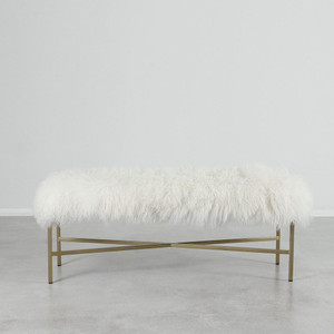 As shown: Wilshire Mongolian bench Dimensions: 48 x 15 x 18 hinches Materials: Mongolian Hide, Satin Brass Color: White