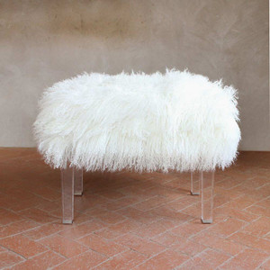 As shown: Beverly Modern Mongolian Bench Dimensions: 24 x 15 x 18 H inches Materials: Mongolian Hide, Lucite Legs Color: White