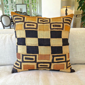 As Shown: One-Of-A-Kind Authentic Kuba Cloth Pillow Size: 26 x 26 inches  Description: We source unique Kuba textiles to create one-of-a-kind or limited edition pillows. Our selection varies at any one time, but the images above provide a range of the possible options. Please allow for variation in the color and pattern. Give us a call at 1-866-804-1909 to speak about our current selection.