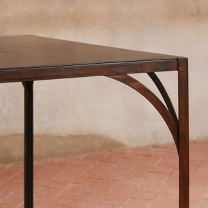 As Shown: Rustique Dining Table Size: 36 x 60 x 30 H inches Finish: Oxidized Topcoat: Lacquer