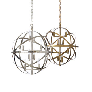 As Shown: Ocean Drive Pendant Lamp Size: 21 diameter x 22 H inches, 5.5 inches canopy diameter Material: Plated Aluminum Finish: Antique Brass, Shiny Nickel Plate  Description: These pendant spheres in antique brass or shiny nickel finish reflect our fascination with the heavens. Eight 15-watt bulbs branch from the vertical axis, as metallic circles navigate their orbits with effortless ease.
