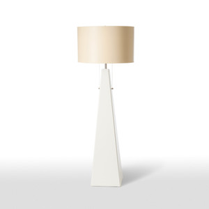 As Shown: Pyramid Blanc Floor Lamp Size: 22 diameter x 60 H inches Material: Ceramic Composite Shade: Painted Parchment  Description: A smooth white pyramid of ceramic composite, handmade in the US, rises to a peak before entering the cloud of its taupe painted parchment drum shade. Two lamp pulls allow for single or double illumination. The pinnacle of grace and architectural formation.