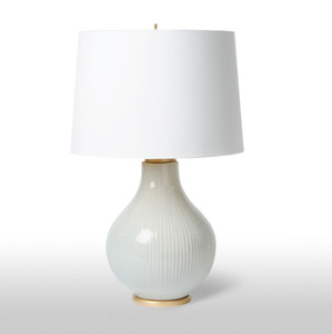 As Shown: Monroe Table Lamp Size: 19 diameter x 30 H inches Material: Glazed Ceramic Shade: Silk  Description: This bulb-shaped, handmade in the US white glazed ceramic lamp features subtle ribbing, inviting your touch. The white silk deep empire shade completes the sensual appearance without overpowering it. You won't be able to resist the curves.