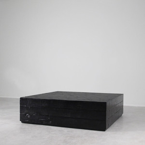 As Shown: Sugar Pine Cube Table Size: 60 x 60 x 16 H inches Finish: Ebony Topcoat: Sealed Topcoat