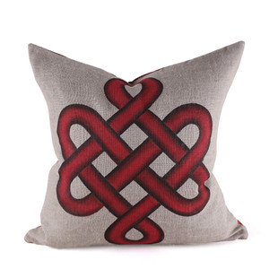 As Shown: Tibetan Knot Hand Painted Pillow Size: 18 x 18 inches Material: Linen Color: Red  Description: Eternally yours, the beautiful Tibetan eternal knot is one of the Eight Auspicious Symbols and an important cultural marker of Tibetan Buddhism. Artisans meticulously hand-paint this classic design onto natural linen then back with matching linen or leather. Fitted with a feather and down inner, your pillow will be individually created for you. In four saturated colors, the soothing contours of this powerful symbol will inspire your everlasting style.