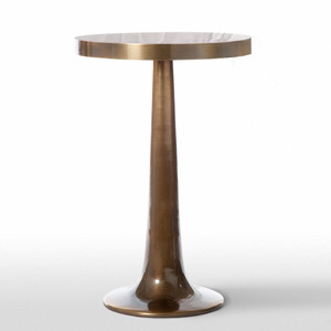As Shown: Trumpet Side Table Size: 17.5 diameter x 26 H inches Material: Cast Aluminum in Antique Brass