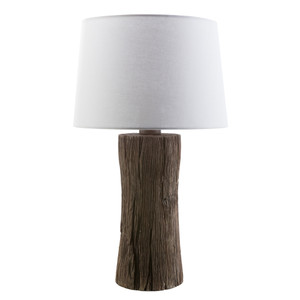 As Shown: Sycamore Table Lamp Size: 15 diameter x 27 H inches Material: Cast Resin Shade: Polyester  Description: Were you fooled? Constructed from a cast resin mold a solid Sycamore log, this lamp deceives the eye with its organic texture and shape. Fitted with a white bell shade, this lamp announces its rustic roots in the most charming way.