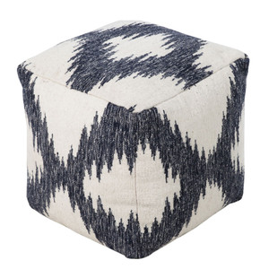 As Shown: Woolen Ikat Pouf  Size: 18 x 18 x 18 H inches Material: Wool  Description: Unique patterns emerge in the ikat fabric weaving process, developed in Indonesia and adopted around the world. X marks the spot in our ikat pouf of cream and inky black wool, handmade in India, where it has been densely packed with shredded cotton to create a soft, firm seat.