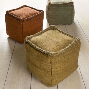 As Shown: Jute Bengali Pouf  Size: 18 x 18 x 18 H inches Material: Pale Moss, Ochre and Rust  Description: These rustic poufs are a great way to add some natural texture to your interior. They are densely packed with shredded cotton to create a soft, firm seat.
