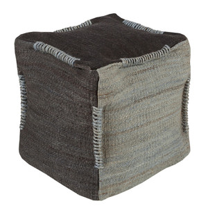 As Shown: Assam Woven Jute Pouf - POUF-314 Size: 18 x 18 x 18 H inches Material: Jute Color: Black and Slate  Description: These rustic poufs are a great way to add some natural texture to your interior. They are densely packed with shredded cotton to create a soft, firm seat.