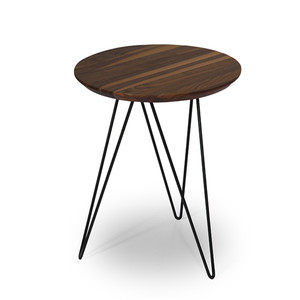 As Shown: Architects Accent Table Size: 18 diameter x 22 H inches Material: Solid Walnut Top Finish: Plated Metal Base in Black  Description: Embracing simplicity with a touch of refined detail, this table might creep its way front and center if you let it. Choose solid walnut or marble for the top, then from multiple colors for plated metal on the daring legs.