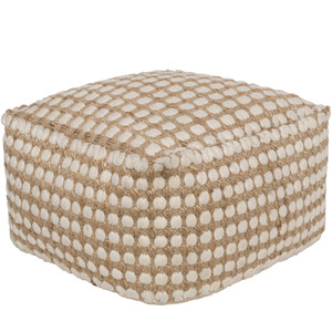As Shown: La Playa Pouf - OCPF-4002 Size: 20 x 20 x 12 H inches Material: Jute Cotton Blend  Description: Vamos a la playa! La Playa Pouf's shell-shapes of creamy cotton, expertly woven in India into natural jute, remind us that the beach is never far away. In our imaginations, anyway. Touchably textured, like sand on the Mexican Riviera, direct from us to you.