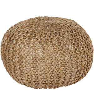 As Shown: Capistrano Pouf - BRPF-001 Size: 20 diameter x 14 H inches Material: Jute Color: Natural  Description: Like the swallows, you'll return to the Capistrano Pouf again and again for its comfortable support of cotton-filled, handwoven jute. In soothing shades of natural, seafoam grey or stone grey, this high quality pouf from India welcomes guests as extra seating or conversation piece.