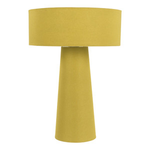As Shown: True Colors Table Lamp - BRA-867 Size: 14.5 diameter x 20.75 H inches Material: Cotton-wrapped Iron  Shade: Cotton Color: Marigold Yellow  Description: Let the true colors of cotton-wrapped iron and a matching cotton shade announce your intentions to take the style forefront with this lamp. A graphic statement in a modern décor, this lamp expresses the modern desire for simplicity and form, putting you in the vanguard.