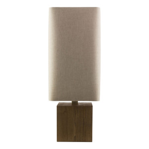 As Shown: Kubik Table Lamp Size: 11 x 11 x 32.5 H inches Material: Wood Shade: Linen  Description: A cube of naturally finished wood and an ecru linen shade form the perfect marriage of organic texture and contemporary style in the Kubik Table Lamp. Balanced geometry at its best.