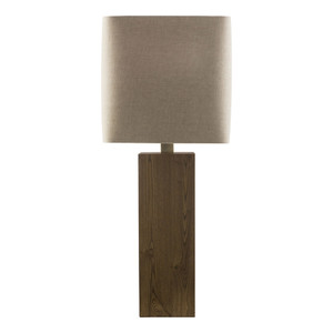 As Shown: Poste Table Lamp Size: 13 x 13 x 32.5 H inches Material: Wood  Shade: Linen  Description: The rectangular wooden base of the Poste Table Lamp is capped by the natural texture of a square, ecru linen shade. Contemporary styling that fits into both traditional and modern décor.