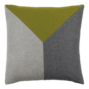 As Shown: VM Felted Pillow - JH-001 Size: 18 x 18 inches Material: Wool with Viscose  Description: Wool viscose blend felt in two bold, geometric colorways flies in the face of traditional pillow patterns. In three sizes, this pillow's soft felt exterior is matched by its feather and down interior for cushioned comfort.