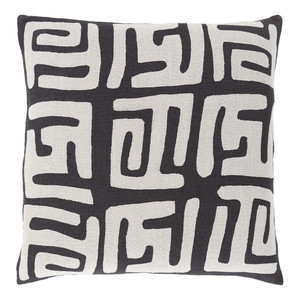 As Shown: Modern Tribal Nsheng Pillow - NRB-006 Size: 18 x 18 inches Material: Linen in Black  Description: The complexity of pattern on this pillow is reminiscent of the intricate geometric patterns of African tribal weaving and architecture. The organic texture of linen and sophistication of the designs gives this pillow (choose from sizes and colors) go-anywhere panache.