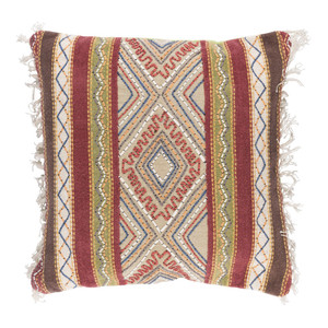 As Shown: Boho Chic Gitana Pillow - MR-004 Size: 20 x 20 inches Material: Cotton  Description: The fiery passion of a Spanish gypsy must have been the muse for the earth tone stitching of this Gitana pillow. Handmade by Indian artisans of cotton with a removable goose feather and down inner in three sizes, the side fringe frames the pillow's textured face like the ebony curls of a gypsy dancer.